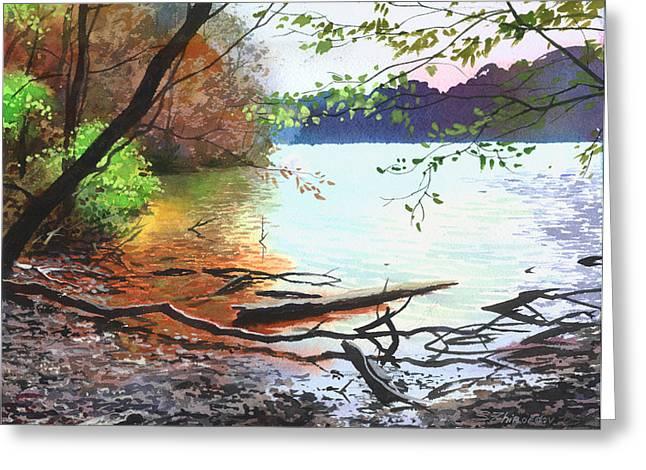 Autumn Lake Greeting Card by Sergey Zhiboedov