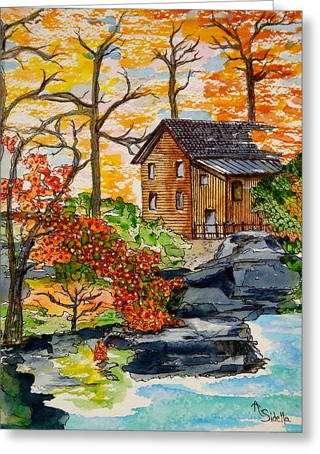 Autumn Leaves Greeting Card by Annamarie Sidella-Felts
