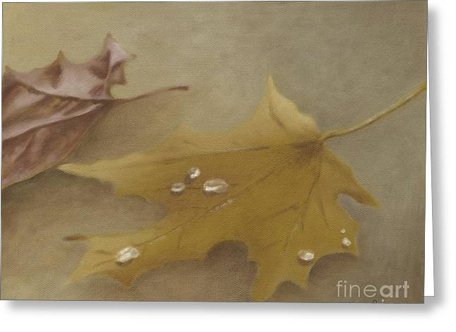 Greeting Card featuring the painting Autumn Leaves by Annemeet Hasidi- van der Leij