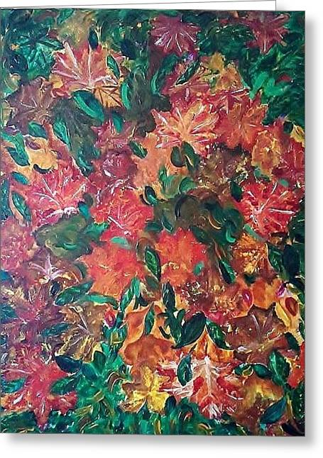 Autumn Leaves In A Whilrwind Greeting Card by Derya  Aktas