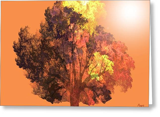 Greeting Card featuring the digital art Autumn Leaves by John Pangia