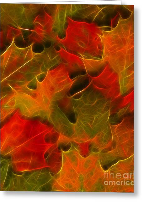 Autumn Leaves - Version 2 Greeting Card by Wingsdomain Art and Photography