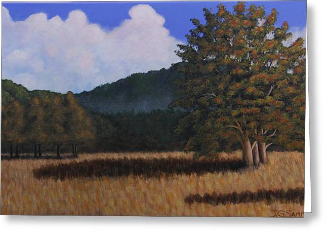 Greeting Card featuring the painting Autumn Meadow by Janet Greer Sammons