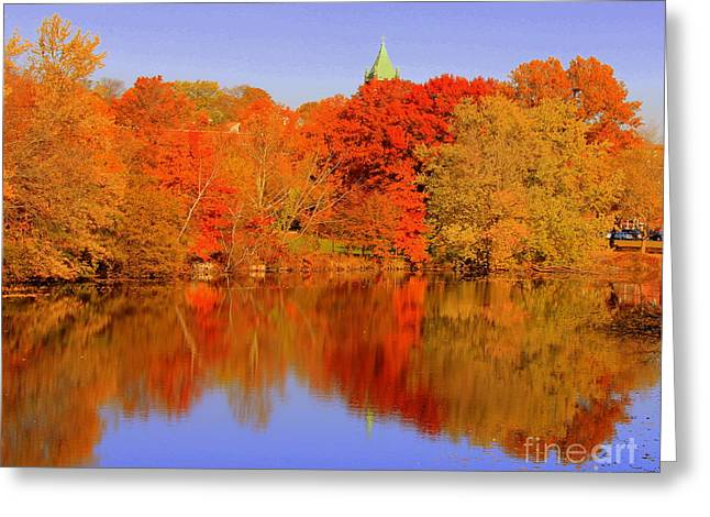 Autumn  On Mystic Lake Greeting Card