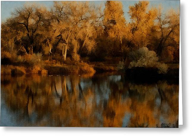 Autumn Reflections Painterly Greeting Card by Ernie Echols