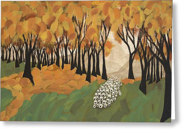 Autumn Sheep Greeting Card