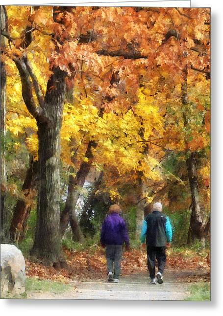 Autumn Stroll Greeting Card by Susan Savad