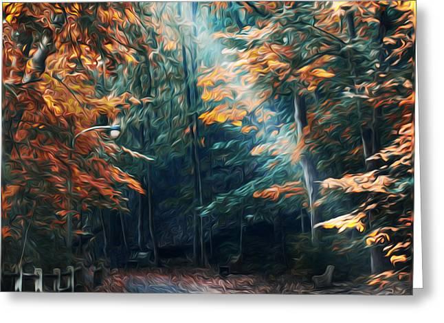 Autumn Sun Beam Greeting Card