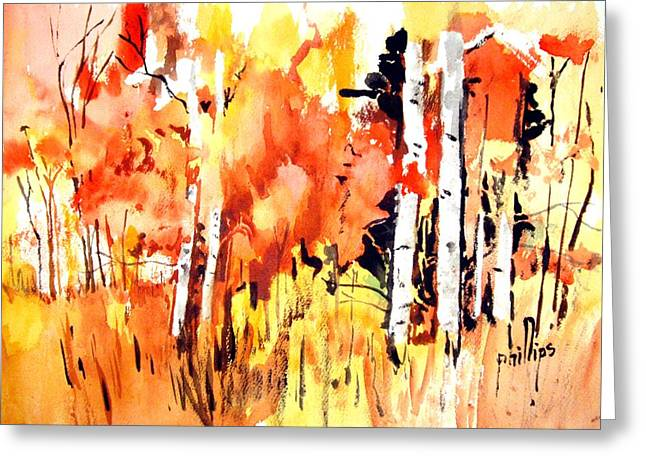 Greeting Card featuring the painting Autumn Walk by Jim Phillips