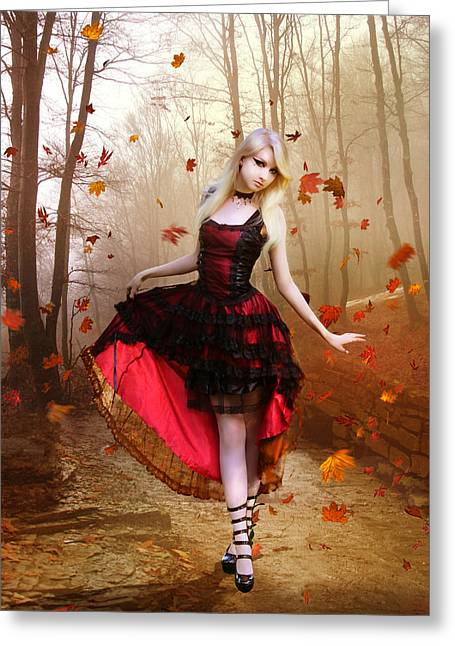 Autumn Waltz Greeting Card by Mary Hood