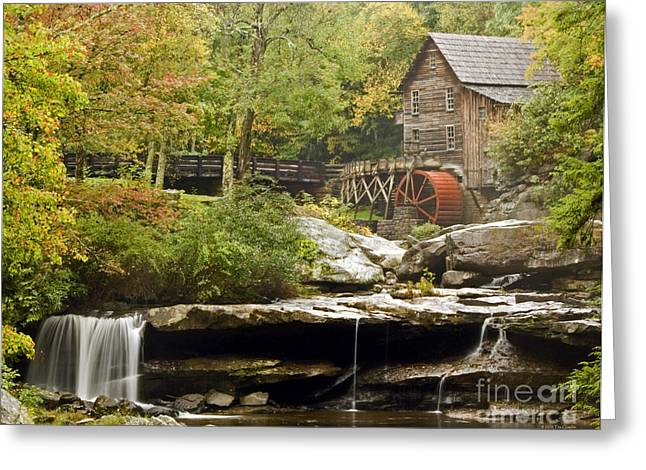 Autumn Waterfall Glade Creek Grist Mill Greeting Card