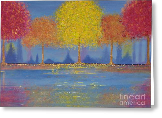 Greeting Card featuring the painting Autumn's Bliss by Stacey Zimmerman