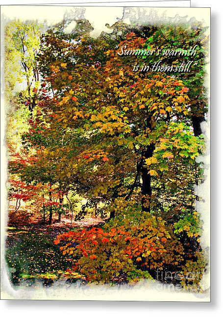 Autumn's Warmth Inspiration Quote Greeting Card by Joan  Minchak