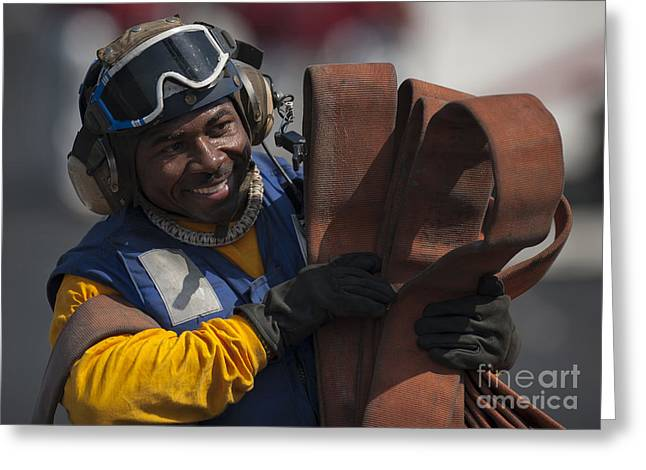 Aviation Boatswains Mate  Carrying Greeting Card by Stocktrek Images