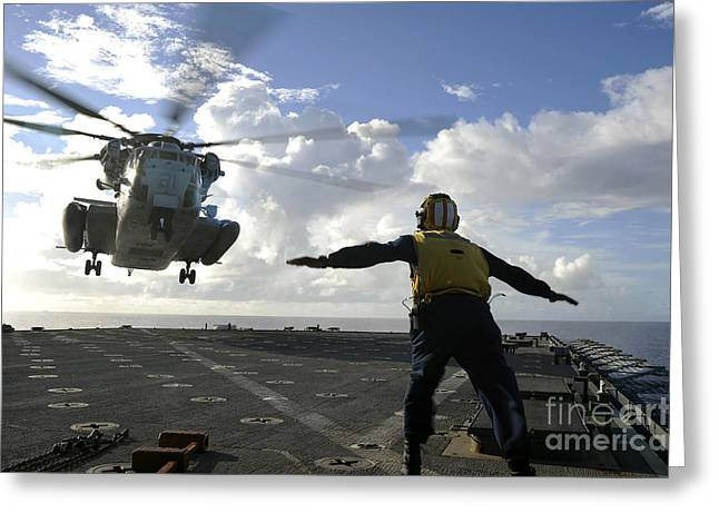 Aviation Boatswains Mate Directs Greeting Card by Stocktrek Images
