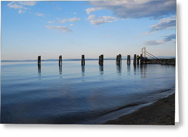 Awaiting The Ferry Greeting Card by Tiffany Ball-Zerges