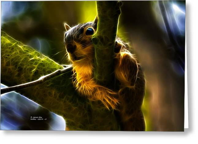 Awww Shucks- Fractal - Robbie The Squirrel Greeting Card by James Ahn