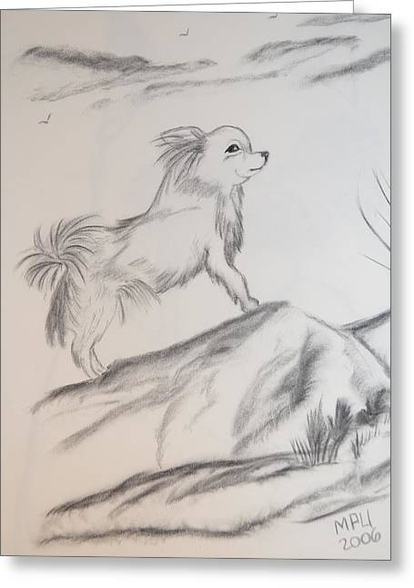 Greeting Card featuring the drawing Aye Chihuahua by Maria Urso