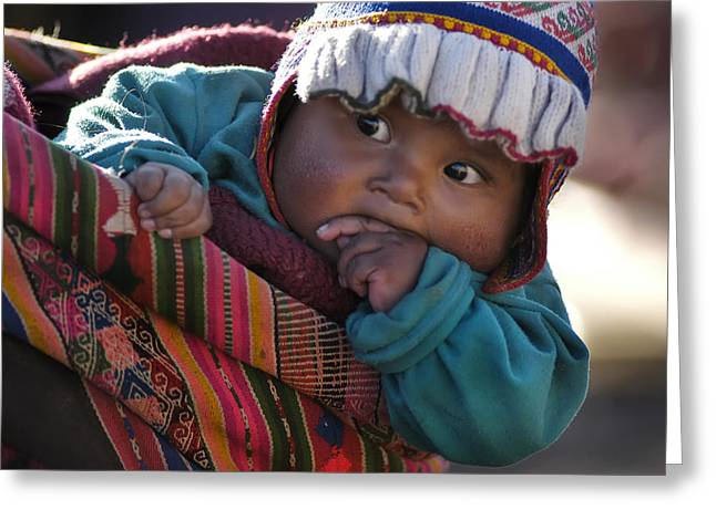 Aymara Indigenous Boy Charged By Your Mother. Department Of Potosi. Republic Of Bolivia.  Greeting Card