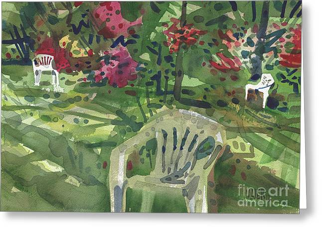 Azaleas And Lawn Chairs Greeting Card by Donald Maier