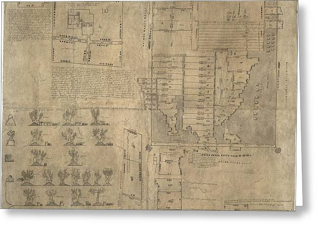 Aztec Map, 16th Century Greeting Card