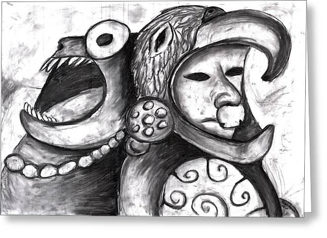 Aztec Warrior Spirit Greeting Card by Rae Hauck