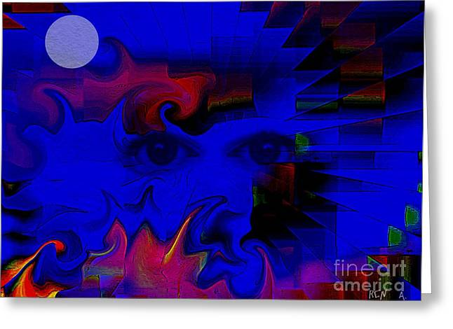 Aztec Woman Of The Moon Greeting Card by Rene Avalos