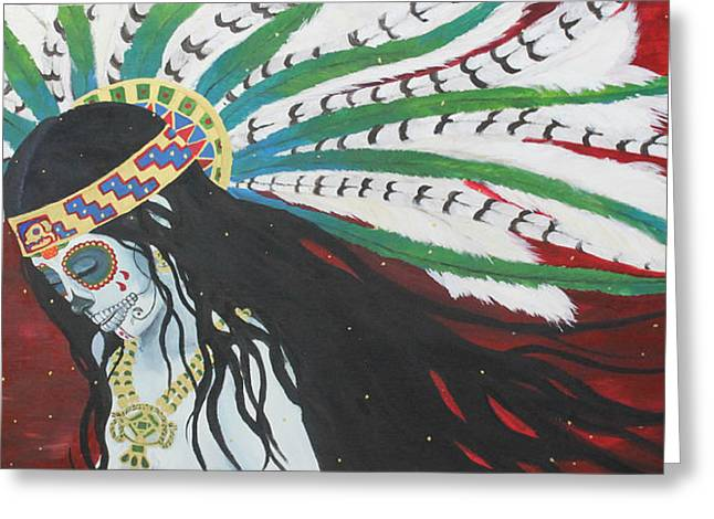 Azteca Con Hummingbird Greeting Card by Sonia Orban-Price