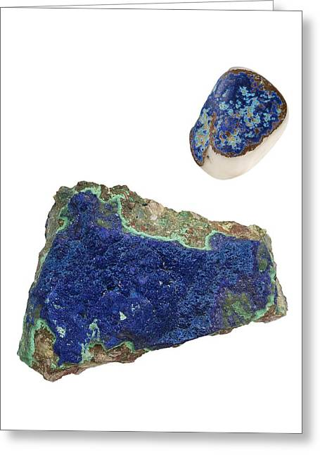 Azurite Crystals Greeting Card by Paul Biddle