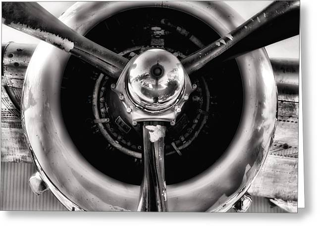B-25 Prop Hdr Monochromatic Greeting Card