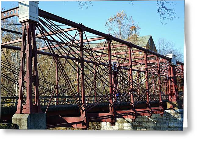 Greeting Card featuring the photograph B And O Bridge by Mary Zeman