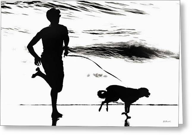 B And W Beach Scene 3 Greeting Card by Brian D Meredith
