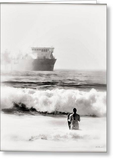 B And W Beach Scene 4 Greeting Card by Brian D Meredith