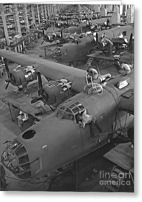 B24 War Bird Assembly 1943 Greeting Card by Padre Art