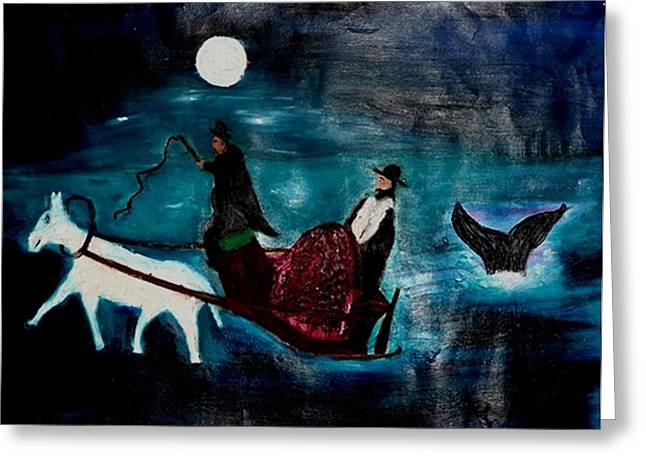 Baal Shem Tov In His Carriage Greeting Card by Eliezer Sobel