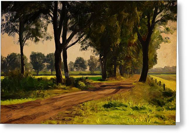 Greeting Card featuring the painting Baarschot Country Road by Nop Briex