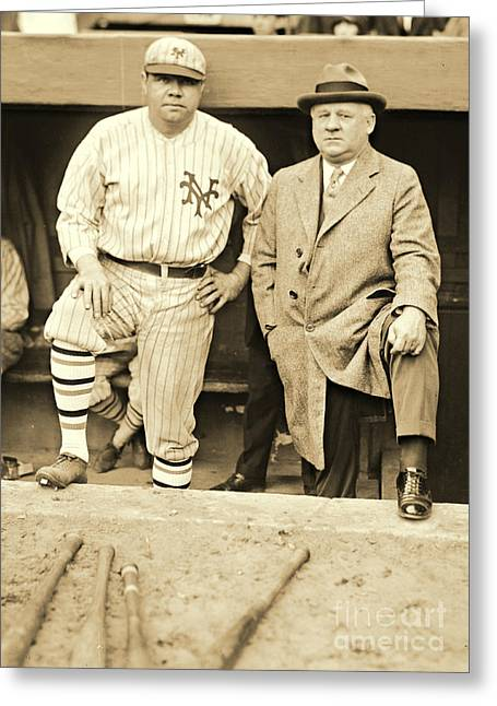 Babe Ruth And John Mcgraw 1923 Greeting Card by Padre Art