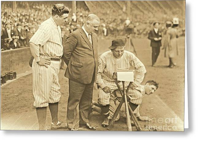 Babe Ruth Studies The Roster Greeting Card by Padre Art
