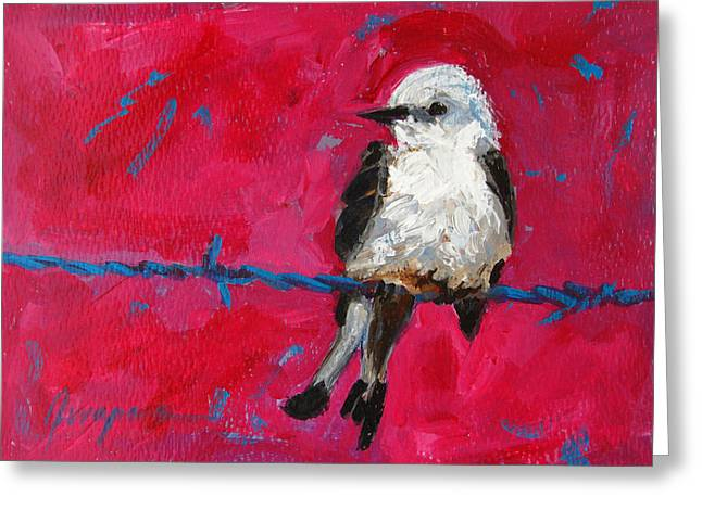 Baby Bird On A Wire Greeting Card