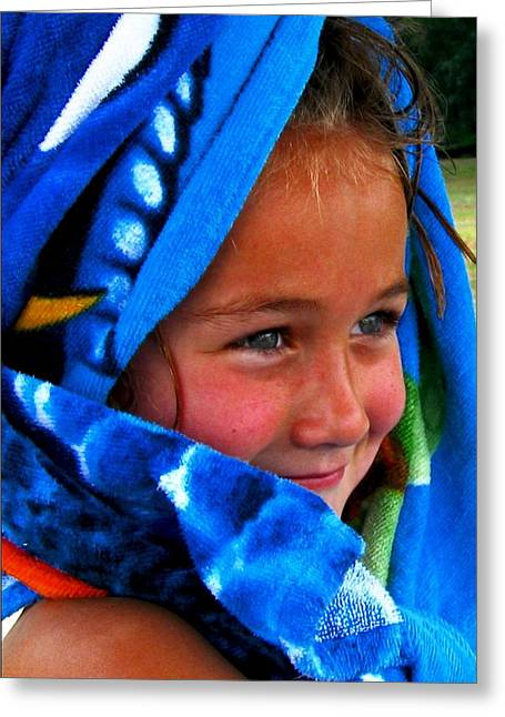 Baby Blue Eyes Greeting Card by Carrie OBrien Sibley