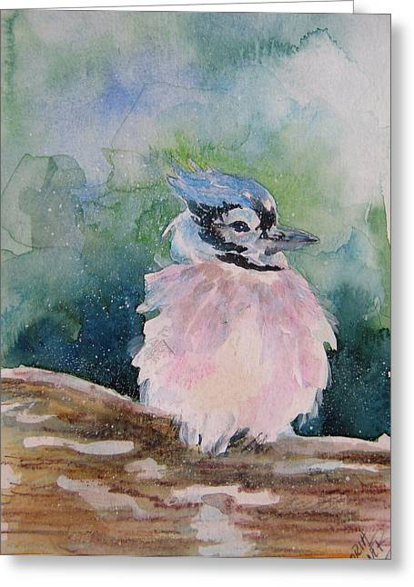 Greeting Card featuring the painting Baby Blue Jay by Gloria Turner