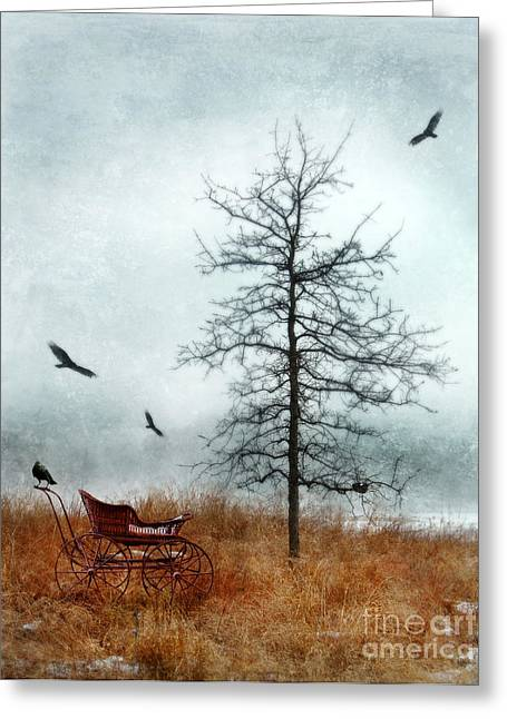 Baby Buggy By Tree With Nest And Birds Greeting Card