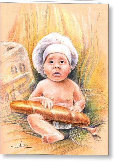 Baby Cook With Baguette Greeting Card by Miki De Goodaboom