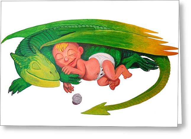 Baby Dragon Greeting Card by Harm  Plat