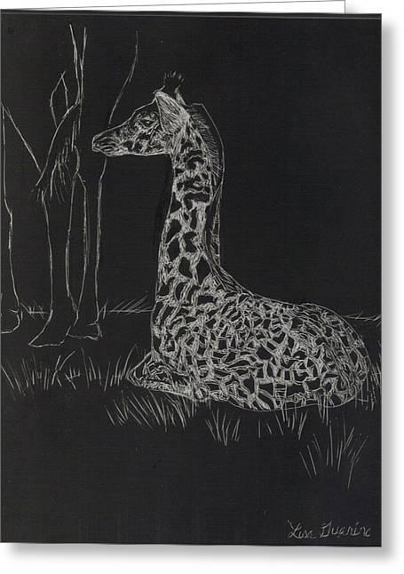 Baby Giraffe Greeting Card by Lisa Guarino