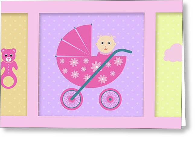 Baby Girl Greeting Card by Nomi Elboim