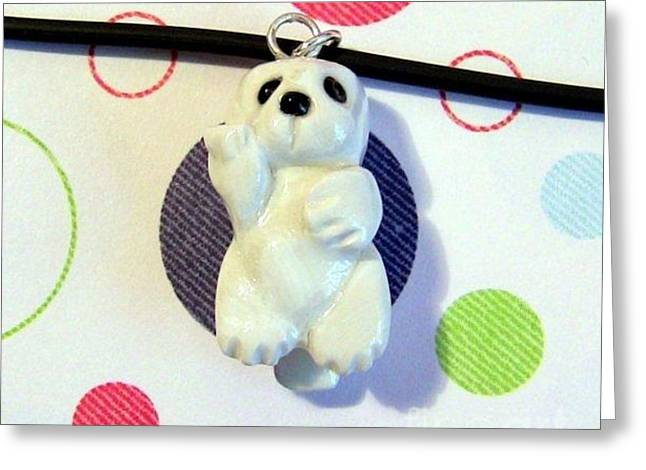 Baby Harbor Seal Endangered Animini Necklace Greeting Card