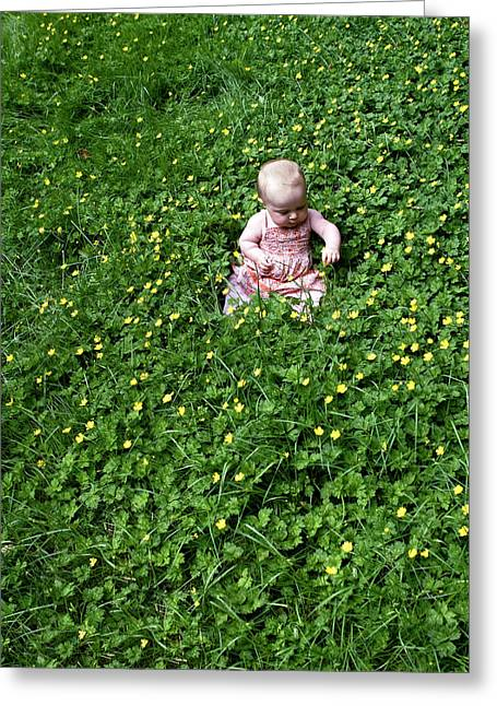 Baby In A Field Of Flowers Greeting Card