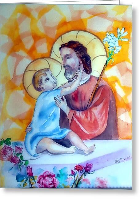 Baby Jesus  Greeting Card by Myrna Migala