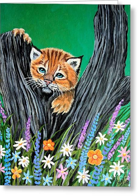 Baby Lynx Greeting Card by Nick Gustafson